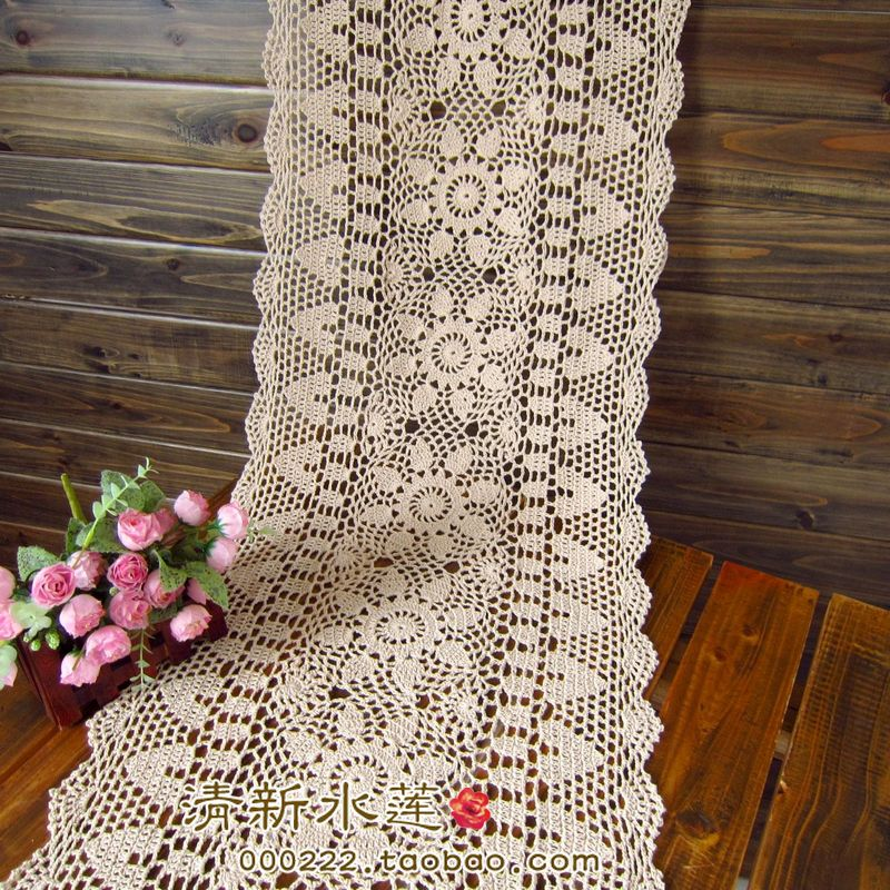 Free shipping IKEA white Biege rectangle crochet hook cotton flowers lace table runner for wedding table overlay vintage cutout(China (Mainland))