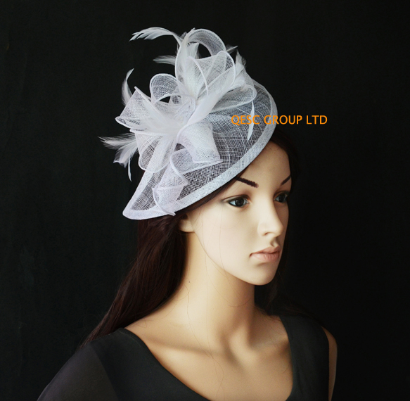 White HOT Sinamay Fascinator Hat for Weeding,Kentucky Derby,Ascot Races,Melbourne Cup .(China (Mainland))