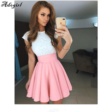 Buy Adogirl Summer American School Style Fashion Women Elegant Half Pleated Mini Skirts High Waist Casual Girls Leggings Skirt 2017 for $11.59 in AliExpress store