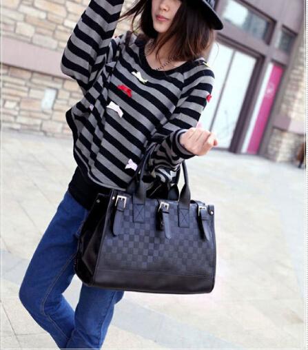 Women's Black PU Leather Weave Pattern Hand Bags 78368(China (Mainland))