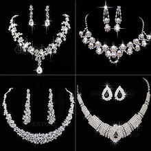 U119 Free Shipping Fashion Prom Wedding Bridal Jewelry Crystal Rhinestone Necklace Earring Sets(China (Mainland))