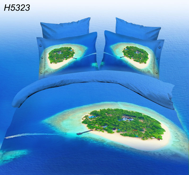 blue ocean comforter cover bedding sets island 3d bed linen HD digital printed bed set 2015 new fashion 3d bed covers sale 5323(China (Mainland))