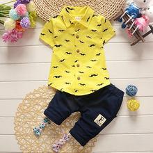 Recién Nacido bebé niño conjunto de ropa blusa + pantalón ropa infantil de verano ropa de deporte chico de niños chico traje de alta calidad(China)