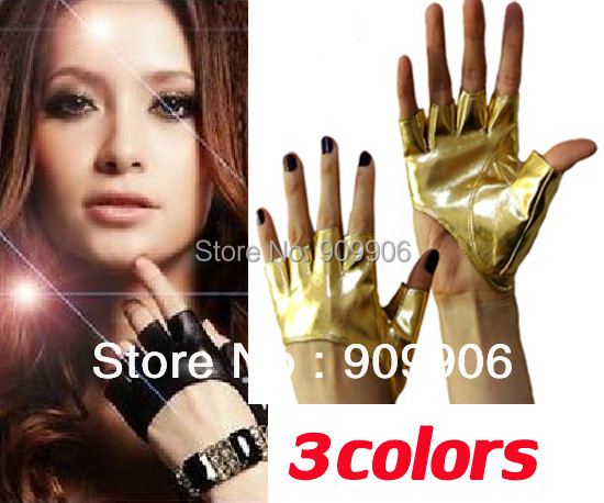New Lady Sexy Kim silver black color Fingerless PU Leather Five Fingers Half Palm Gloves free shipping with tracking number(China (Mainland))