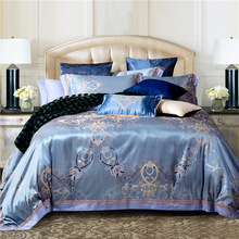 Luxury Silk Bedding Set Embroidery Bed Linens Tencel Satin Bed Sheet Set Jacquard Bedclothes Full/Queen/King Size Bed cover(China (Mainland))