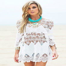 2016 Summer Boho Sexy Lace Hollow Knit Cover up Crochet Beach Dress Tops Blouse(China (Mainland))