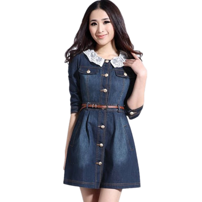 2014 Brand Newest Vintage Fashion Women's Denim Dress, Popular Lace Neck Ladies' jeans casual Dresses plus sizes dresses - Shanghai Emanuel Trade Co., Ltd. store