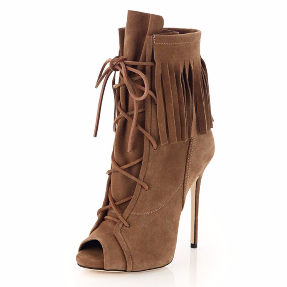 Women fashion tassel shoes lace up open toe high heel boots cheap price fringe decorated stiletto heel ankle boots(China (Mainland))