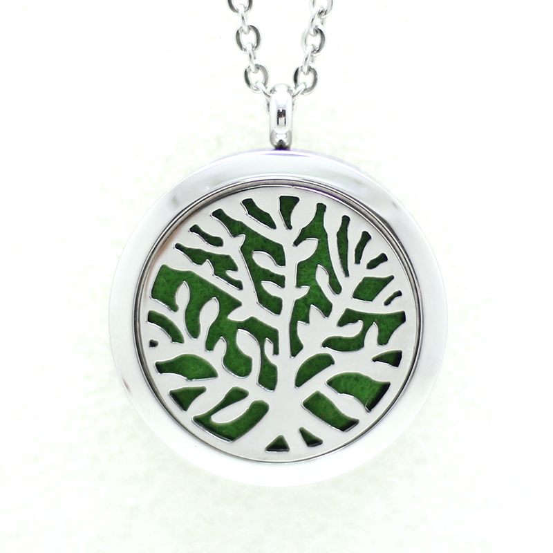 Tree of Life Stainless Steel Perfume Locket Essential Oil Diffuser Aromatherapy Necklace Pendant PN049(China (Mainland))