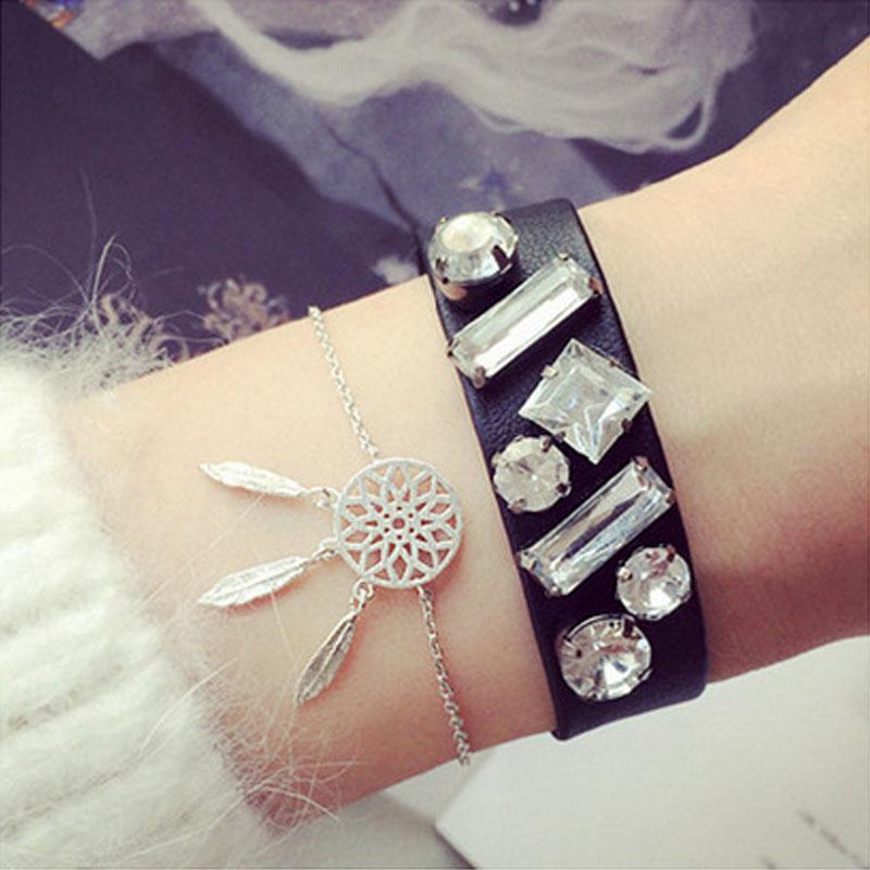 Women Delicate Dreamcatcher Bracelet Feather Tassel Chain Link Bracelet(China (Mainland))