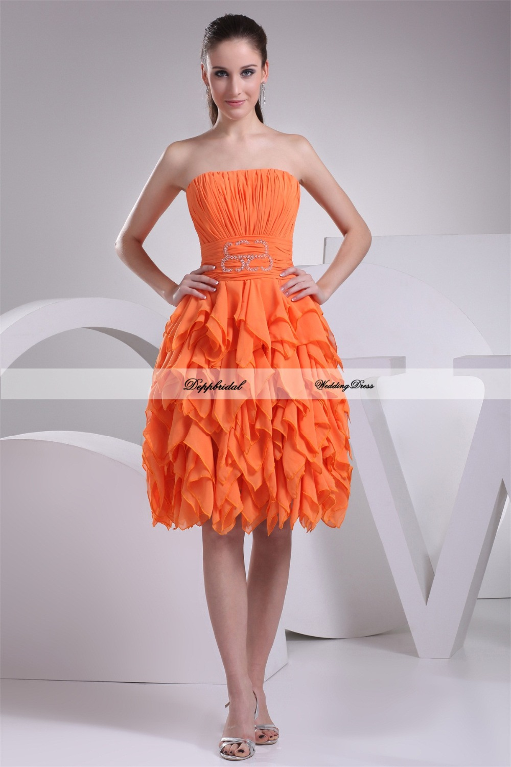Cascading ruffles knee length a line satin chiffon best for Cocktail length wedding dresses