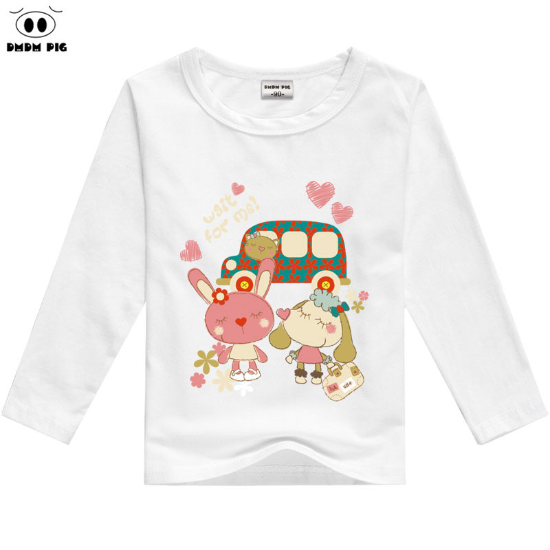 Children Classic Plain White Round Neck Loose Cotton Long Sleeve Printing Cartoon T Shirt For 2-7 Year-old Baby Boys Clothes(China (Mainland))