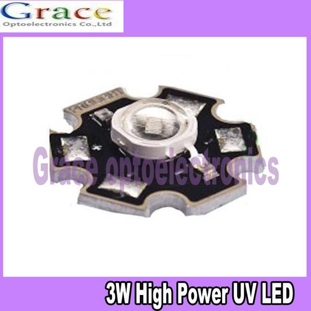 2pcs 3W UV ultraviolet 390-410nm high power LED 3watt purple Light free shipping