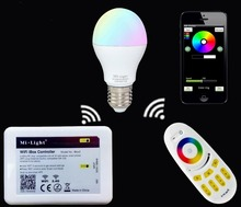 Buy Mi.light 2.4G E27 6W RGBW RGBW Led Bulb Lamp AC85-265+Wifi Ibox Led Controller+2.4G RGBW Touch Panel Remote for $6.39 in AliExpress store