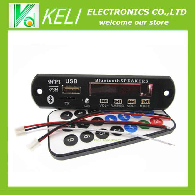 Free shipping 1set USB TF Radio Bluetooth MP3 WMA Decoder Board 12V Wireless Audio Module for Car(China (Mainland))