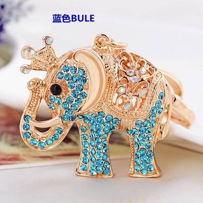 Cute Animal Elephant imperial crown crystal Car Pendant Decoration handmade keychain keyring gift YSK40(China (Mainland))