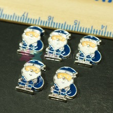 10pcs/lot Christmas Style Santa Claus Blue Color Alloy Metal 3D Handcrafts Phone Case Cover Nail Art DIY Design Decorations(China (Mainland))