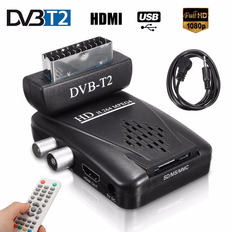 Mini Digital TV Scart SAT Free Satellite TV Channels Receiver MPEG4 HD 1080P DVB-T2 Receiver SCART Satellite Receiver EU/US Plug(China (Mainland))