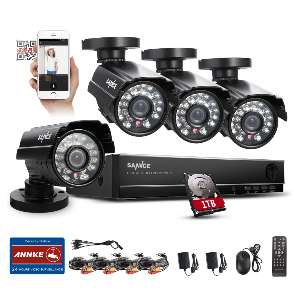 2016 SANNCE Home Security 8CH 960H HDMI DVR 4PCS 800TVL Outdoor CCTV Camera System 8 Channel Video Surveillance Kit With 1TB HDD(China (Mainland))