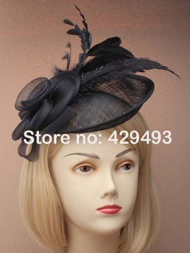 New cheaper women wedding hats and fascinators lace feather fascinator hat with hairband,wedding hats and fascinators(China (Mainland))