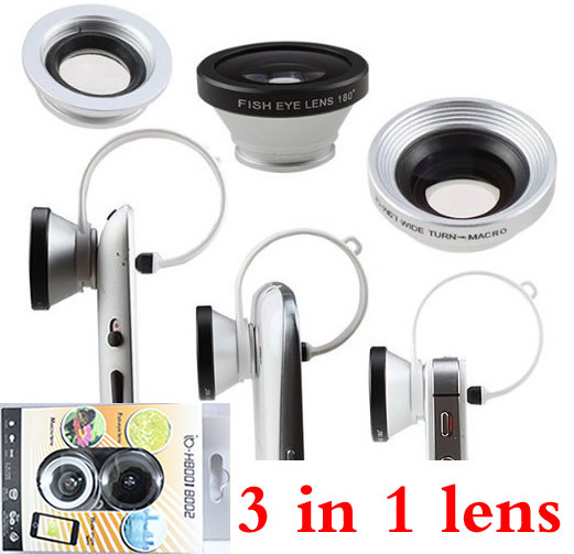 mobile phone fish eye clip 3 in 1 Fisheye Len + Macro + Wide-angle Lens for iphone 4 5 5s 6 plus samsung s3 s4 note 2 3 4