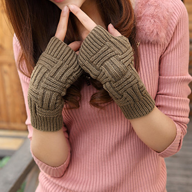 Autumn Winter Trend Korean Men Women Half Finger Warm Knitting Wool Gloves Plain Word Lines Mittens - Flying Dreams Trade Mall store