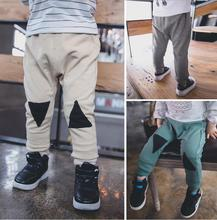 2016 Wholesale Kids Pants Spring autumn Leisure gray Loose Long Pant Beige Green Gray A295(China (Mainland))
