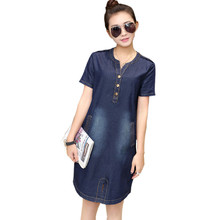2016 New Women Denim Dress Summer Fashion Korean Style Vintage Loose V-Neck Straight Slim Fit Office Party Dresses Vestidos(China (Mainland))