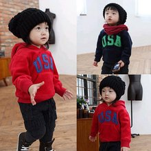 Kids Baby Boys Letter Printed Hoodies Hooded Chunky Sweatshirt Sports Coat 6475(China (Mainland))