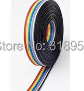 Drop Shipping ribbon cable 10 WAY Flat Color Rainbow Ribbon Cable wire Rainbow Cable 10P ribbon cable1.27MM pitch 5meters/lot(China (Mainland))