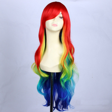 32inch Cheap synthetic multi color Ombre Rainbow wig cosplay for costume party, long curly wig lolita with bang for black women(China (Mainland))