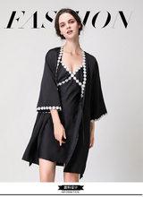 Женская одежда для сна, халаты, комплекты с платьем, шелковое атласное Ночное платье, большие размеры, одежда для сна, повседневная одежда дл...(China)
