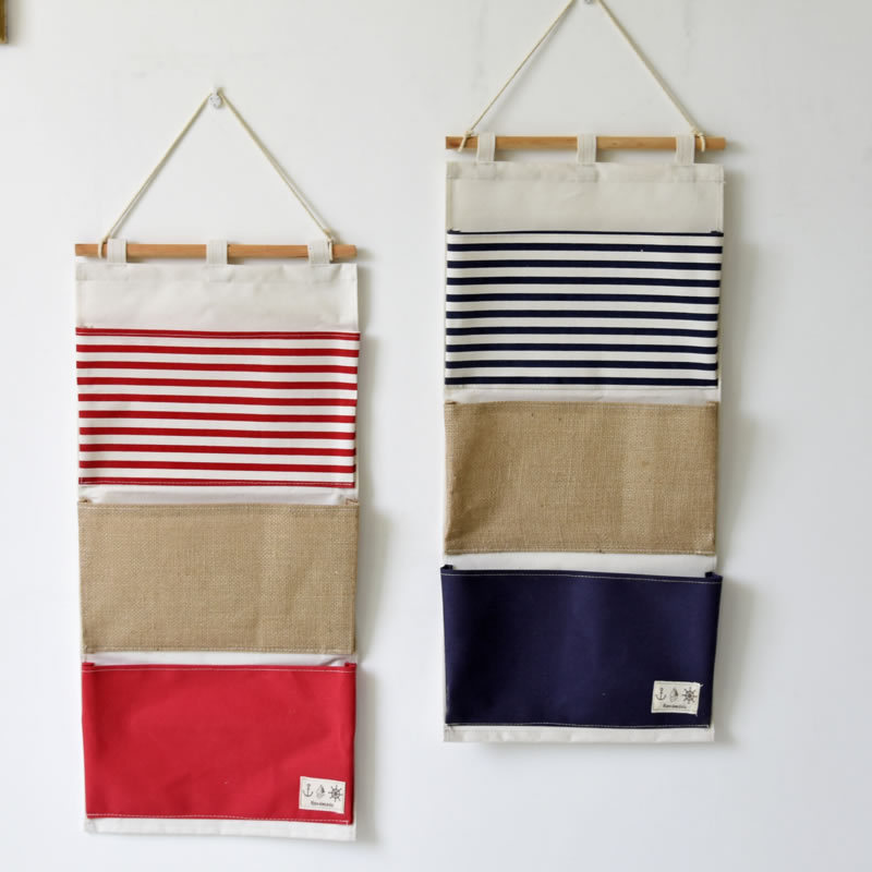 ZAKKA Style Multifunction Plain Striped Pockets Pouch Linen Wall Hanging Type Storage Bag Waterproof Folding Organizer For Toys(China (Mainland))