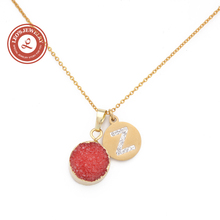 New! Round Nature Orange Druzy Necklace with Gold Plated Letter Initial Crystal Charm Coin Necklace Set(China (Mainland))