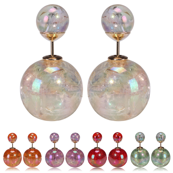 2015 new hot design fashion brand jewelry double side pearl stud earrings for women colors Statement earings for Christmas gift(China (Mainland))