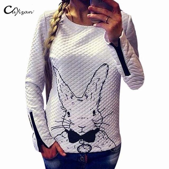 Женщины Hoody Spring Autumn Длинный Рукав Повседневный Sweatshirt Женщины Rabbit ...