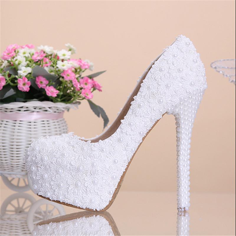 Handmade sweet white flower lace high platform high-heeled shoes pearl wedding shoes elegant bride dress shoes women single shoe<br><br>Aliexpress