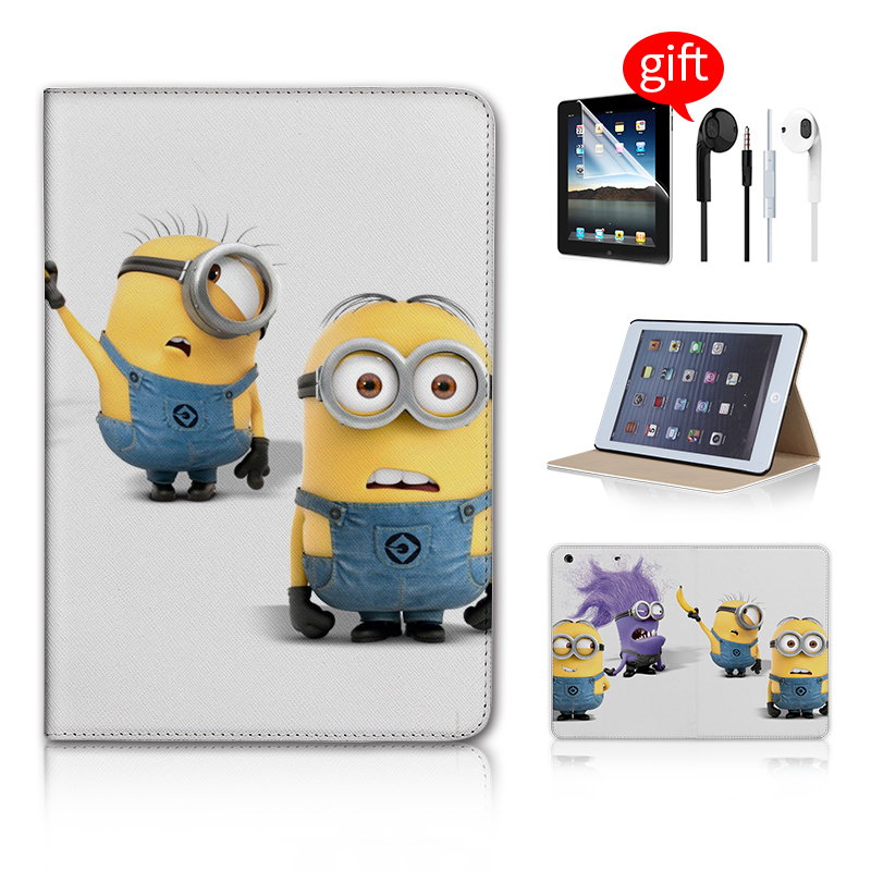 3 IN 1 Gifts Minion Despicable Me 2 Print Fashion mini retina Case For ipad Mini Smart Case For I Pad mini case Screen Protector(China (Mainland))