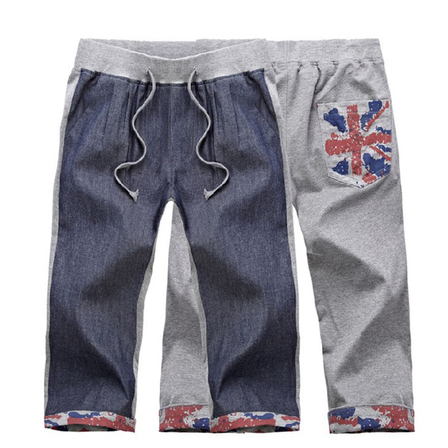 2013 hot Korean new long shorts cotton the surf shorts men casual splicing character design straight Harlan hip-hop D116