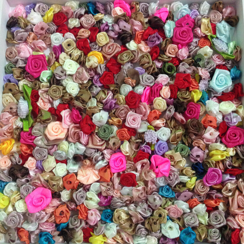 300pcs mixed colors small rose flower mini handmade satin rose head wedding scrapbooking decoration sewing supplier accessories(China (Mainland))