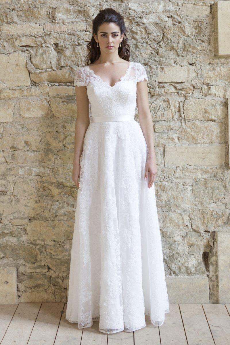 short sleeve wedding dresses Colette Dinnigan french corded lace short sleeve wedding dress with train