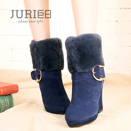 2013 women's winter shoes fashion hasp genuine leather real fur boots nubuck leather side zipper fashion boots(China (Mainland))