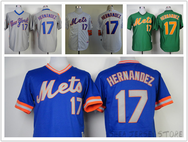 17 Keith Hernandez New York Mets Jersey 1983 Blue 1985 St Patrick's Day Green 1986 White 1987 Gray Throwback Jerseys Baseball(China (Mainland))