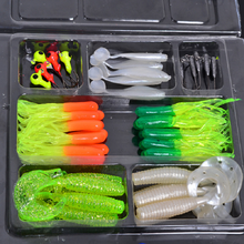 Free shipping 35 soft bait small 10 lead head hook lure combination set soft fishing lures set soft bait fishing tackle(China (Mainland))
