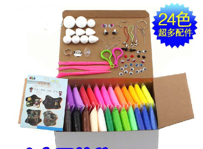 with tool Super light DIY Craft clay 20g 24 colors non-toxic environmental colour play dough clay mud,education toy(China (Mainland))