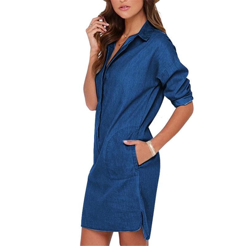 Plus Size Women Clothing 2016 Denim Dress Casual Maxi Femininas Vestidos Summer Mini Loose Shirt Dresses Cheap Clothes LJ1286U(China (Mainland))