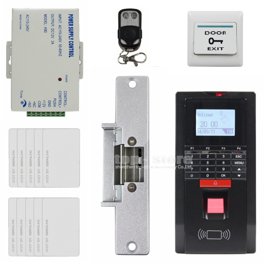 Remote Control LCD Fingerprint Id Card Reader Password Keypad Door Access Control System Kit + Strike Lock For Office / House(China (Mainland))