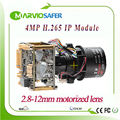 Full HD 2592 1520 4MP Realtime IP camera PTZ module X4 zoom motorized Lens with RS485