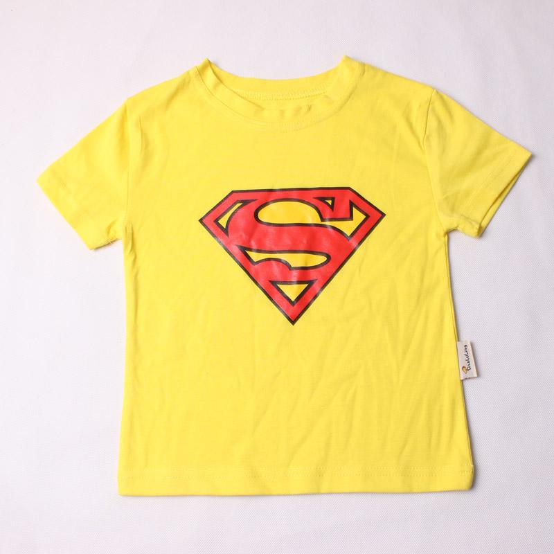 2016 Summer Style Kids T Shirt Boys Short Sleeve Cartoon superman Baby Children Boys T-Shirts For 2-9y Kids Shirts Boys Clothes(China (Mainland))