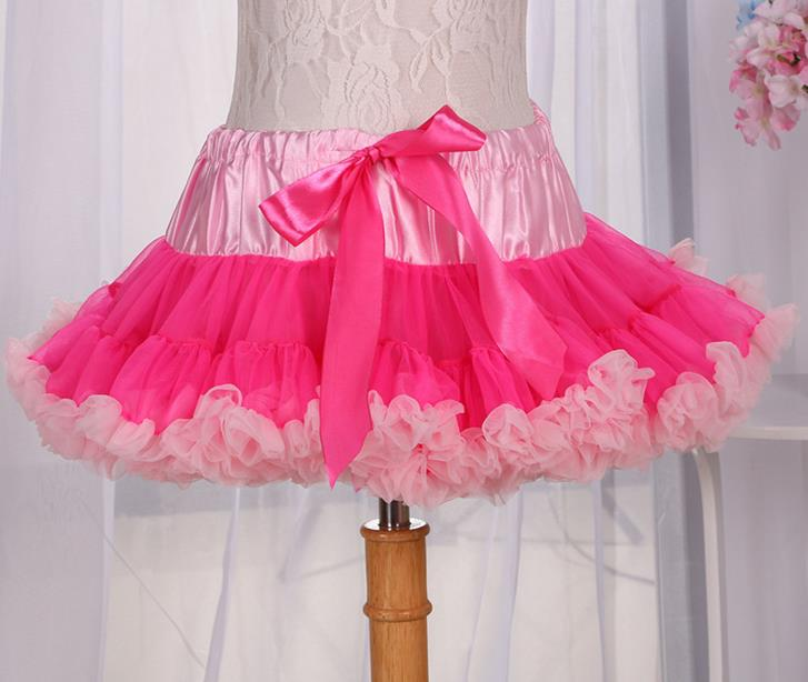 Fashion girl gauze lace bowknot TuTu skirts pleated ball gown dance ballet skirt children party summer clothing S M L colorful(China (Mainland))